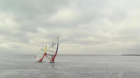 Windsurfing Competitions Time Lapse stock footage