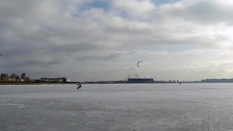 Winter Race On Snowkiting stock footage