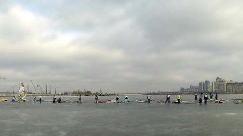 Start Race On The Ice Windsurfing stock footage