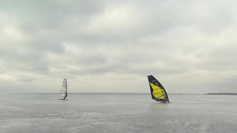Ice Winter Windsurfing stock footage