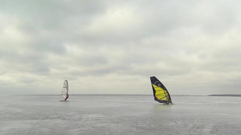 ice winter windsurfing Footage