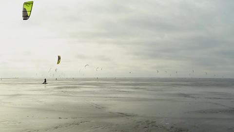 Snowkiting Time Lapse stock footage