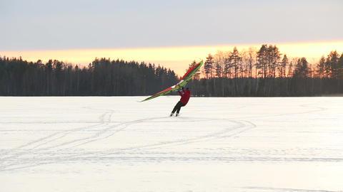 Kitewing skiing Footage