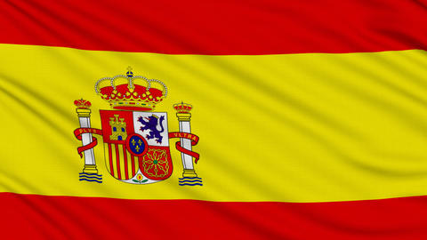 Spanish flag, with real structure of a fabric Animation
