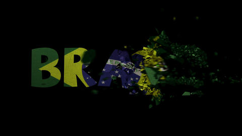 World Cup Brazil Text Shatter Transition stock footage