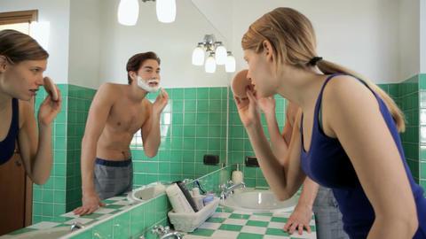 Couple Having Fun In Bathroom stock footage