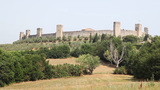 Castle on Hill. Monteriggioni, Tuscany, Italy Footage
