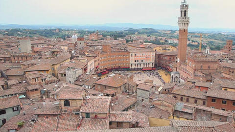 View of Piazza del Campo, Siena, Tuscany, Italy Footage