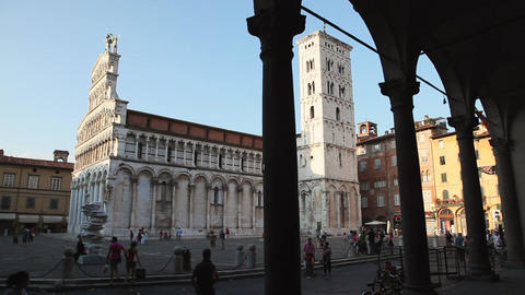 People Near the Cathedral in Lucca, Tuscany, Italy Footage