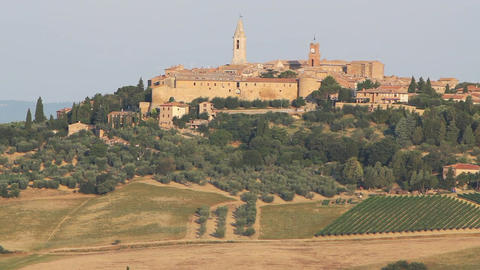 Church at Hillside in Pienza, Tuscany, Italy Footage