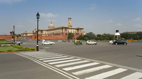 Raj Path Leading To The Parliament Building, New D stock footage