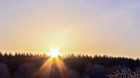 Sunrise over the winter forest. Time Lapse. 1280x7 Footage