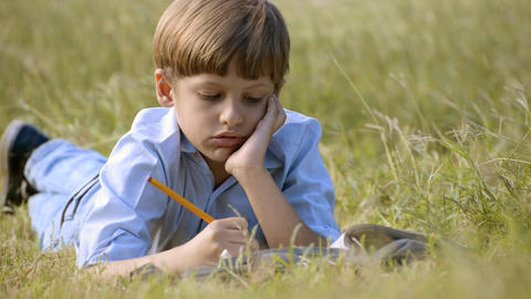 Young Boy Doing Homework Lying On Grass At Park stock footage