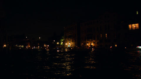 Redentore Boat Canal Night 01 stock footage