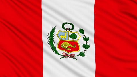 Peruvian flag, with real structure of a fabric Animation