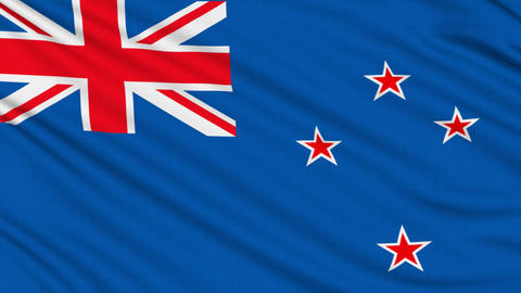 New Zealand flag, with real structure of a fabric Animation