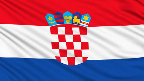 Croatian flag, with real structure of a fabric Animation