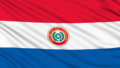 Paraguay flag, with real structure of a fabric Animation