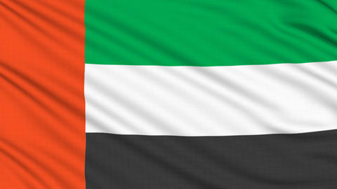 United Arab Emirates flag, with real structure of  Animation