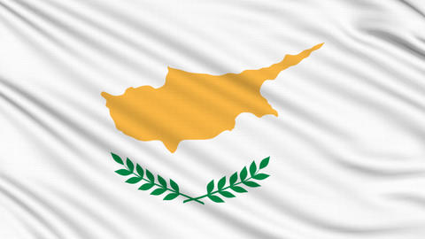 Cyprus flag, with real structure of a fabric Animation