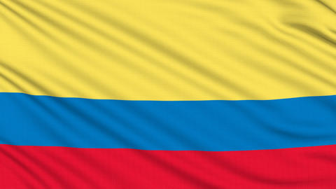 Colombia flag, with real structure of a fabric Animation