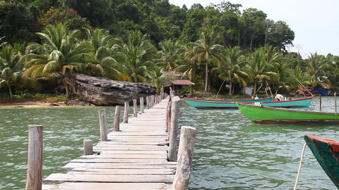 Boat Dock On A Tropical Island stock footage