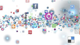 Social Network Icons flying white Animation