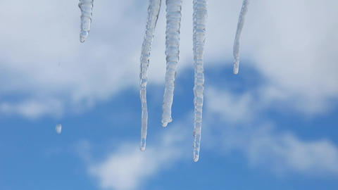 Spring. Icicles.Weather Footage