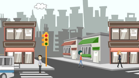 Cartoon City Streets Scene Animation