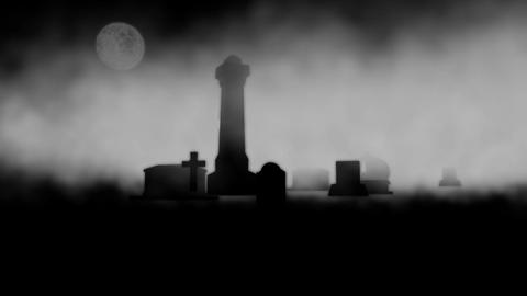 Graves with Fog in Background: Looping Animation