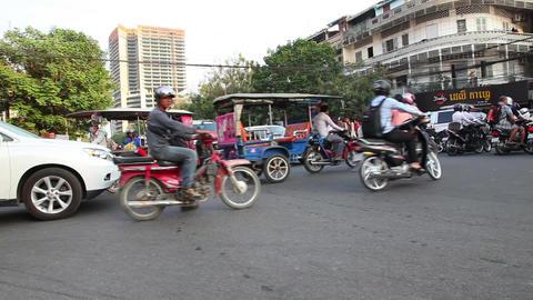 Phnom Penh, Cambodia. Traffic Footage