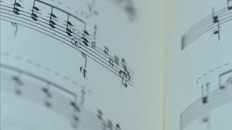 Sheet Of Musical Notes, Motorized Dolly Shot stock footage