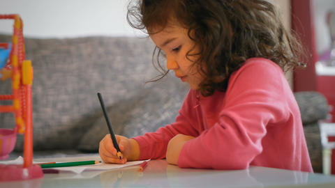 Little Girl Drawing stock footage