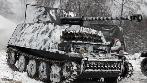 German Tank In Camouflage Coloring stock footage