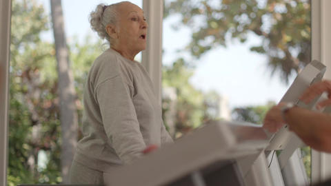 Seniors Working Out In Fitness Club stock footage