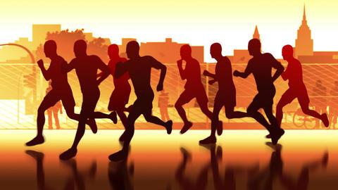 marathon through the city Stock Video Footage