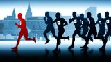 Silhouettes Of Runners. Winner In Front Of The Group stock footage