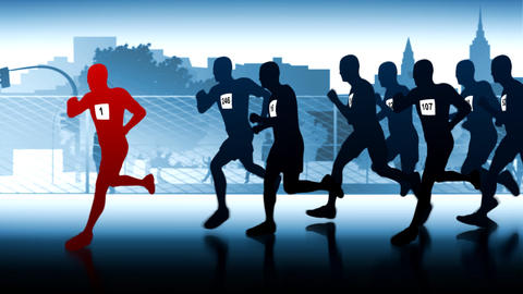 silhouettes of runners. Winner in front of the group Stock Video Footage