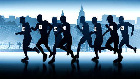 Marathon through the city. Silhouetted runners Animation