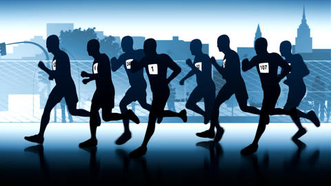 Marathon through the city. Silhouetted runners Stock Video Footage