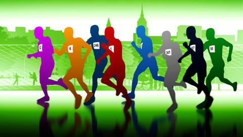 Colourful runners. Silhouettes of running people Animation