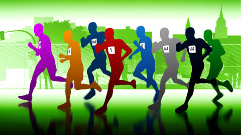Colourful runners. Silhouettes of running people Stock Video Footage