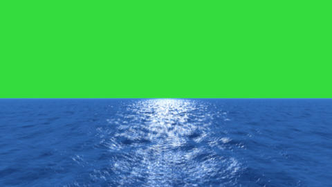 Water fly low tilt up green screen Animation
