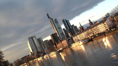 Frankfurt Germany Skyline pan quick zoom out Stock Video Footage