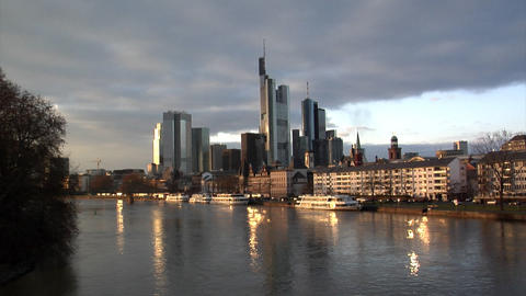 Frankfurt Germany Skyline wide Footage