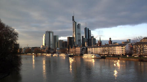 Frankfurt Germany Skyline wide Stock Video Footage