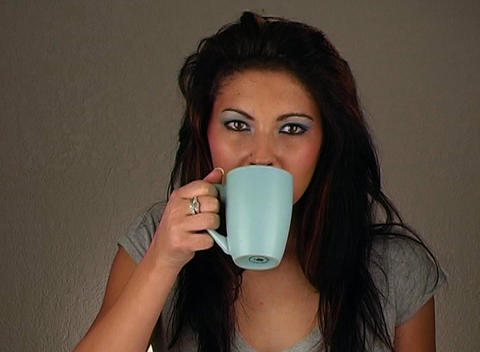 Beautiful Woman Wearing Jeans Pours Coffee 4 Stock Video Footage