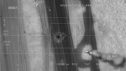 infrared War helicopter car hit Stock Video Footage