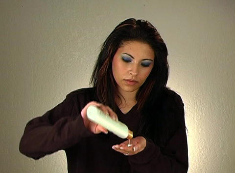 Beautiful Young Woman Applies Hand Lotion 3 Stock Video Footage