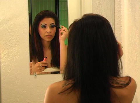 Beautiful Young Woman Applies Mascara 2 Footage
